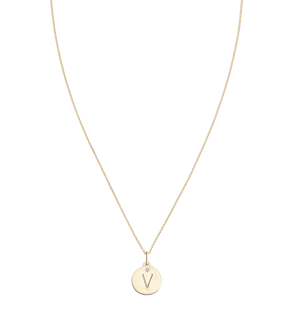 """V"" Alphabet Charm With Diamond -  - Jewelry - Helen Ficalora - 5"