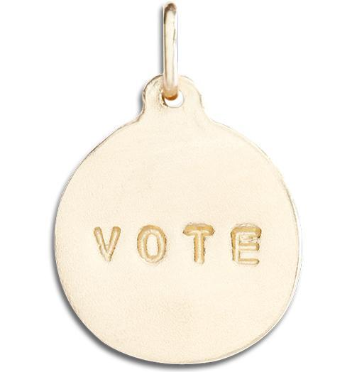 """Vote"" Disk Charm - 14k Yellow Gold - Jewelry - Helen Ficalora - 1"