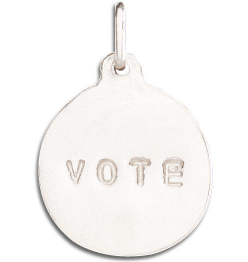 """Vote"" Disk Charm - 14k White Gold - Jewelry - Helen Ficalora - 2"