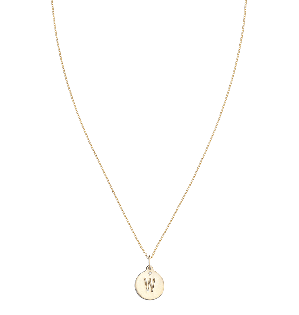 """W"" Alphabet Charm With Diamond -  - Jewelry - Helen Ficalora - 5"