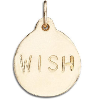 """Wish"" Disk Charm Jewelry Helen Ficalora 14k Yellow Gold"
