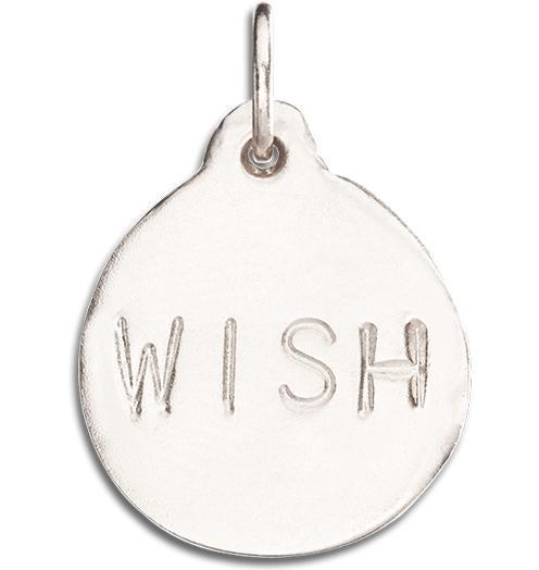 """Wish"" Disk Charm Jewelry Helen Ficalora 14k White Gold"