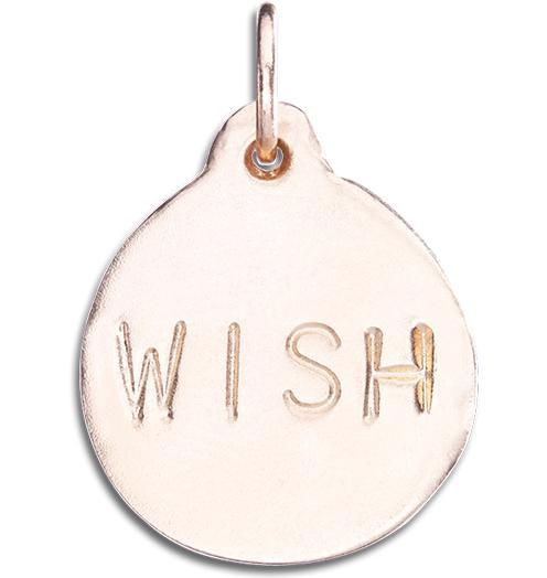 """Wish"" Disk Charm Jewelry Helen Ficalora 14k Pink Gold"