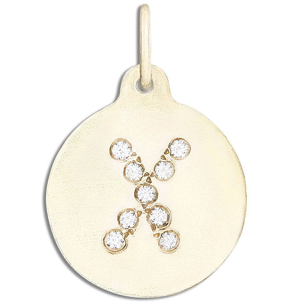 """X"" Alphabet Charm Pave Diamonds - 14k Yellow Gold - Jewelry - Helen Ficalora - 1"