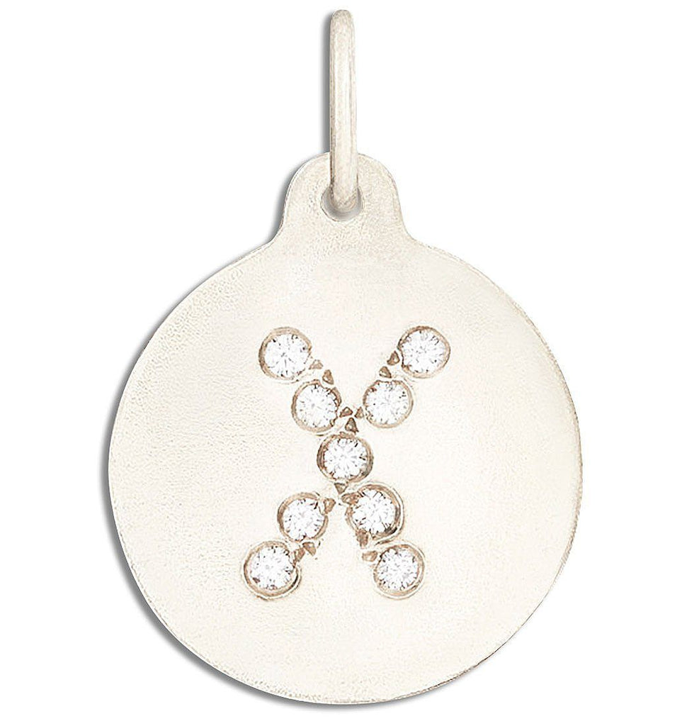 """X"" Alphabet Charm Pave Diamonds - 14k White Gold - Jewelry - Helen Ficalora - 2"