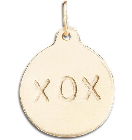 """XOX"" Disk Charm Jewelry Helen Ficalora 14k Yellow Gold"