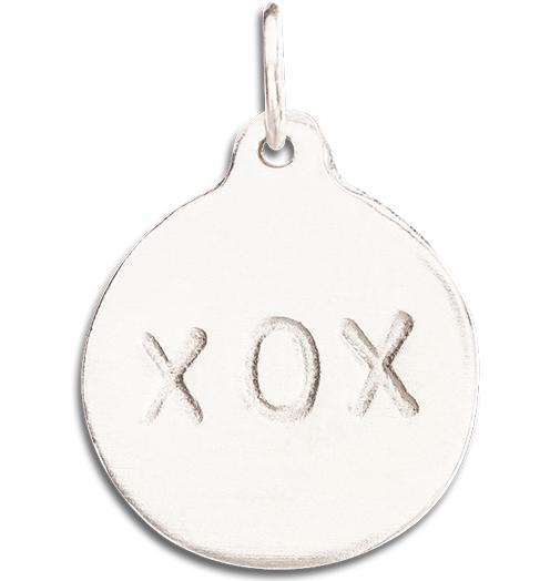 """XOX"" Disk Charm Jewelry Helen Ficalora 14k White Gold"