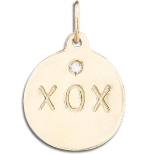 """XOX"" Disk Charm With Diamond Jewelry Helen Ficalora 14k Yellow Gold For Necklaces And Bracelets"