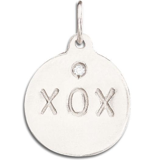 """XOX"" Disk Charm With Diamond - 14k White Gold - Jewelry - Helen Ficalora - 2"