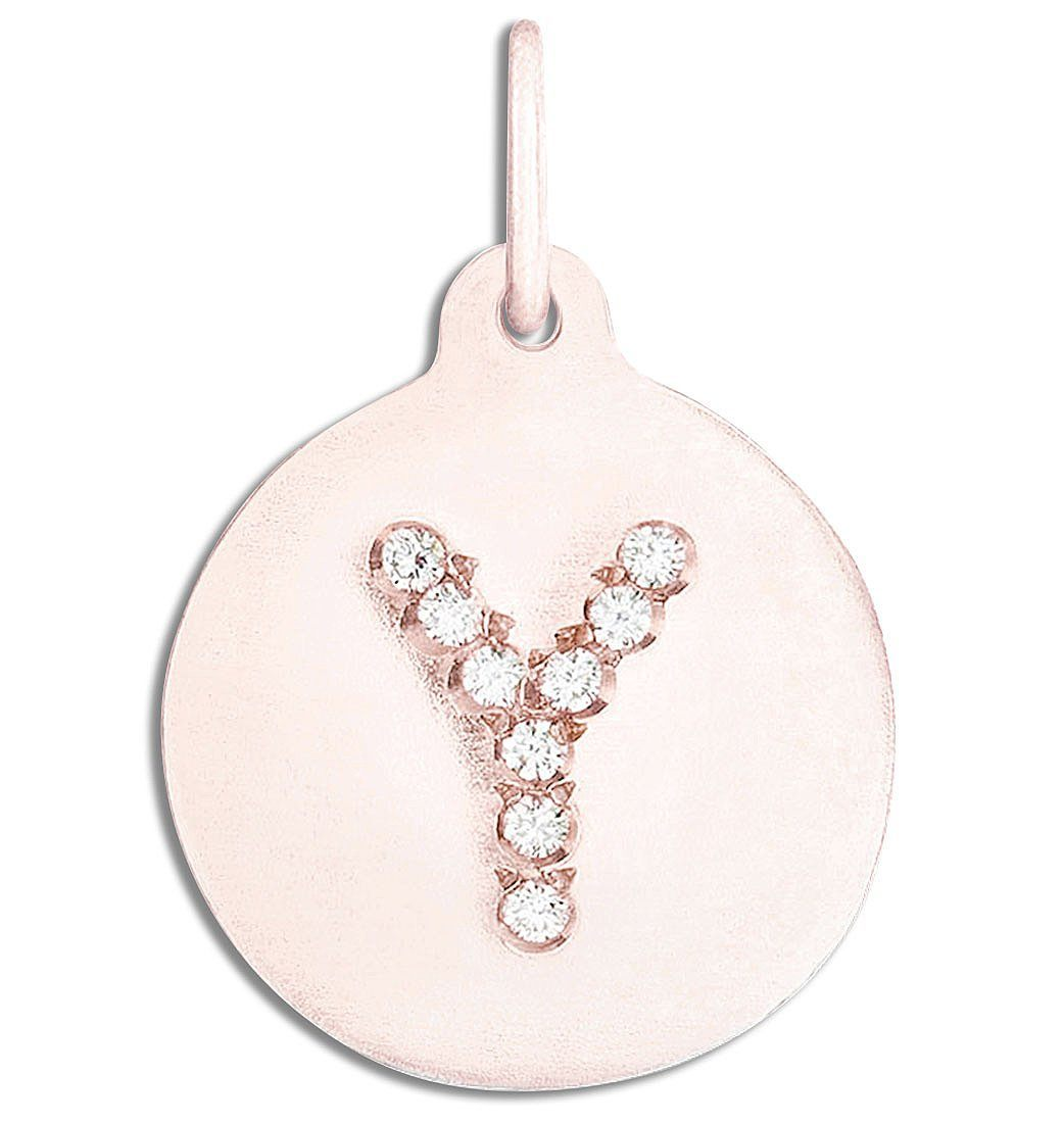 """Y"" Alphabet Charm Pavé Diamonds Jewelry Helen Ficalora 14k Pink Gold For Necklaces And Bracelets"