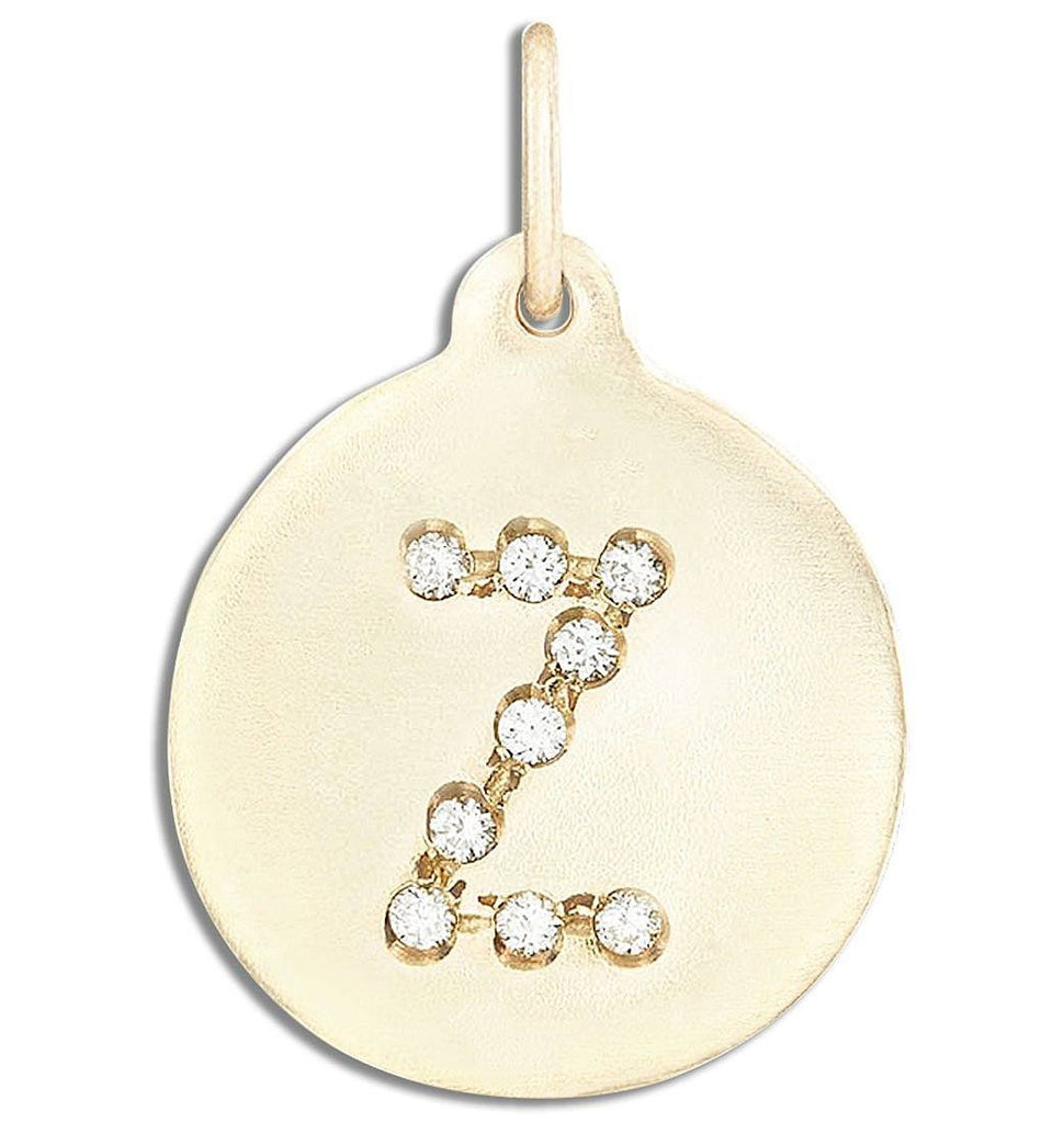"""Z"" Alphabet Charm Pave Diamonds - 14k Yellow Gold - Jewelry - Helen Ficalora - 1"