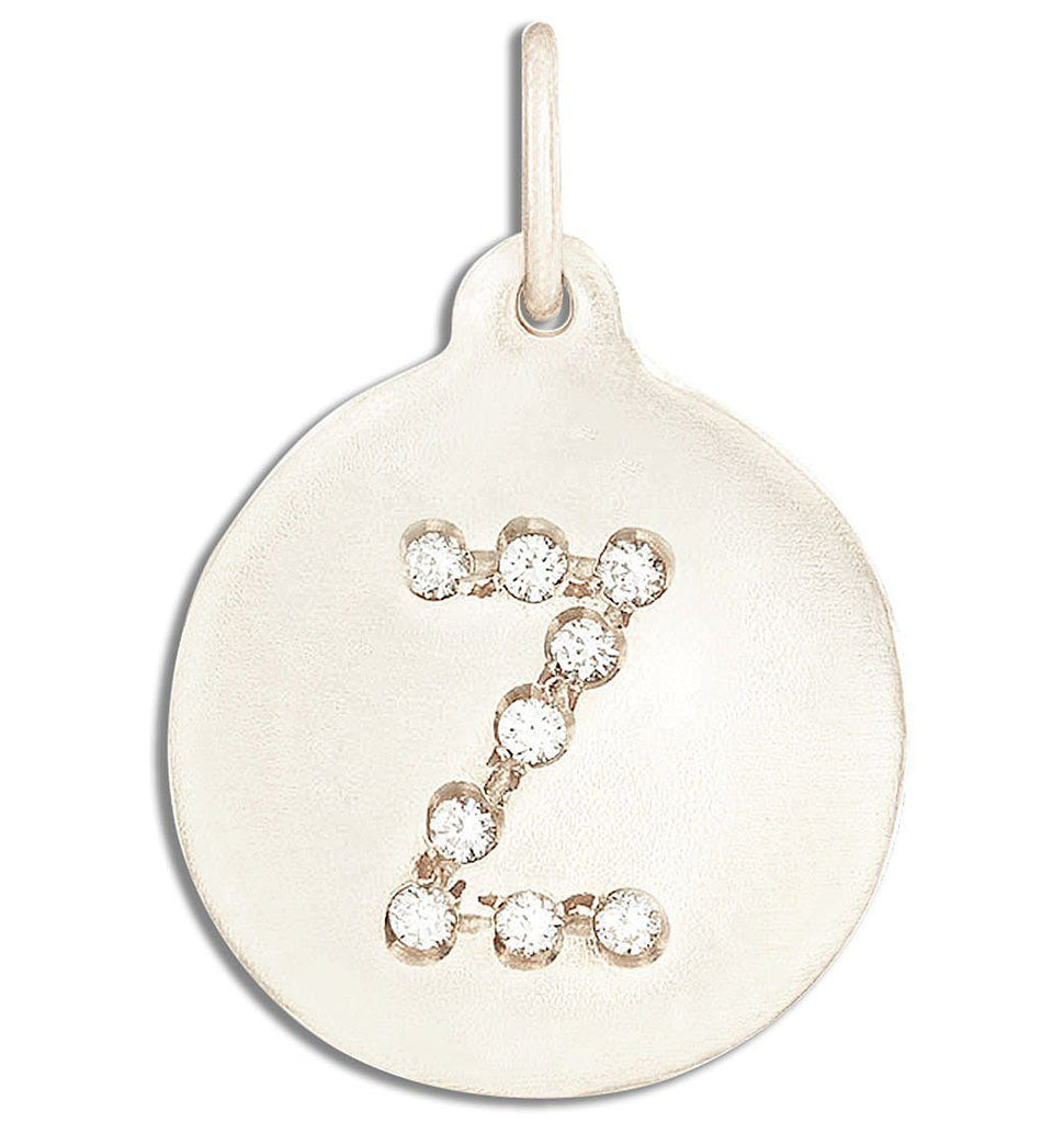 """Z"" Alphabet Charm Pave Diamonds - 14k White Gold - Jewelry - Helen Ficalora - 2"