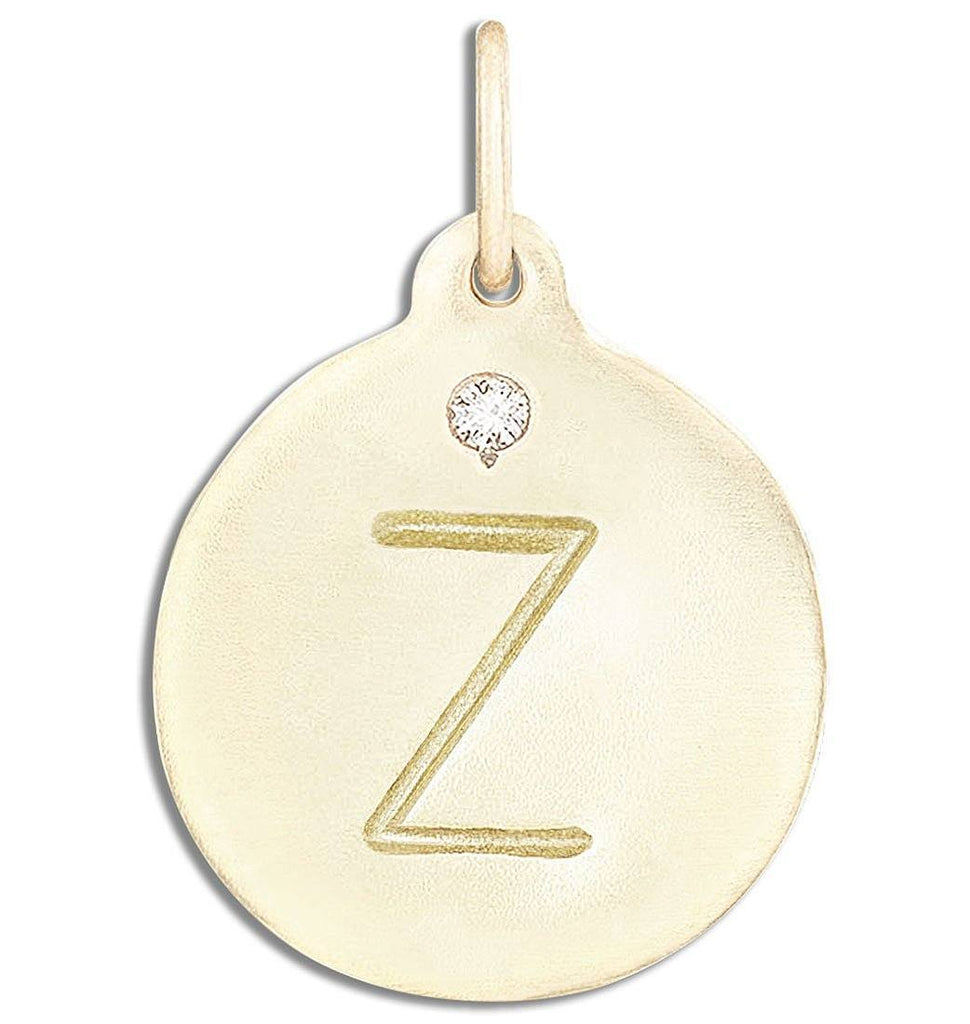 """Z"" Alphabet Charm With Diamond - 14k Yellow Gold - Jewelry - Helen Ficalora - 1"