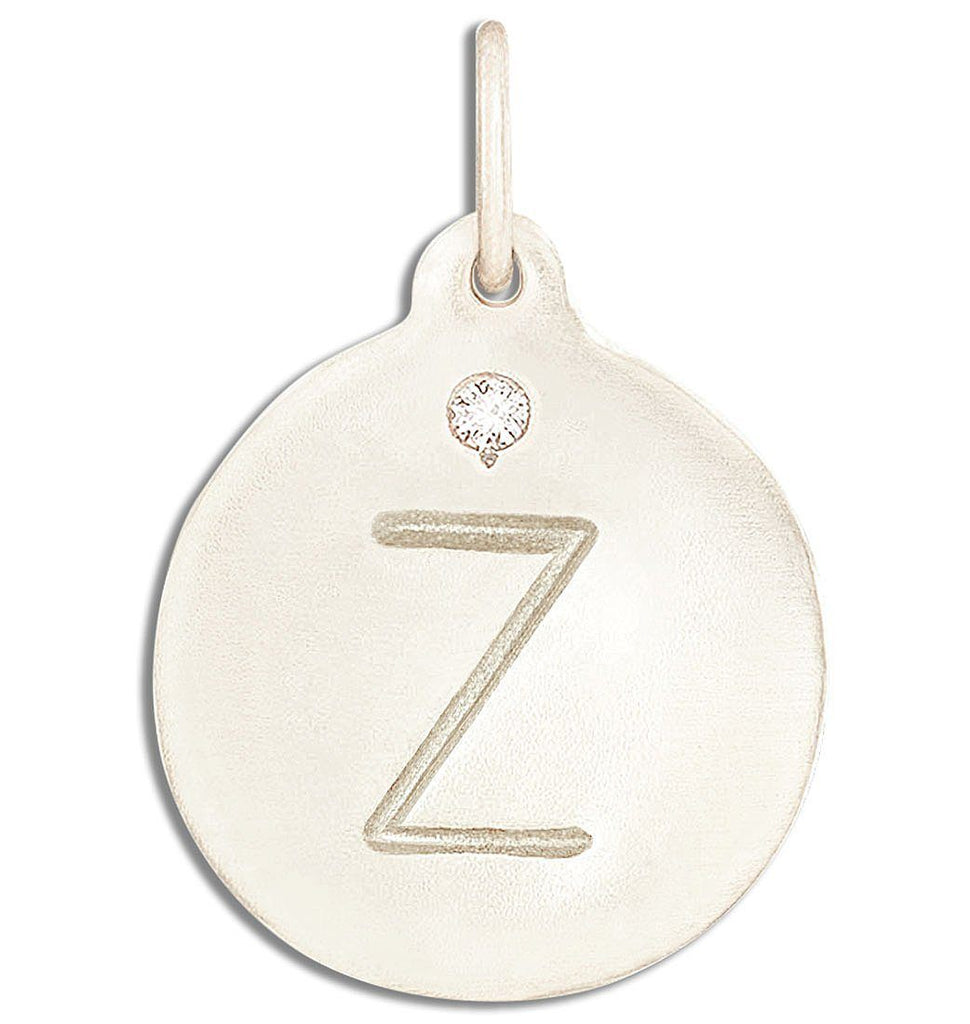 """Z"" Alphabet Charm With Diamond - 14k White Gold - Jewelry - Helen Ficalora - 2"