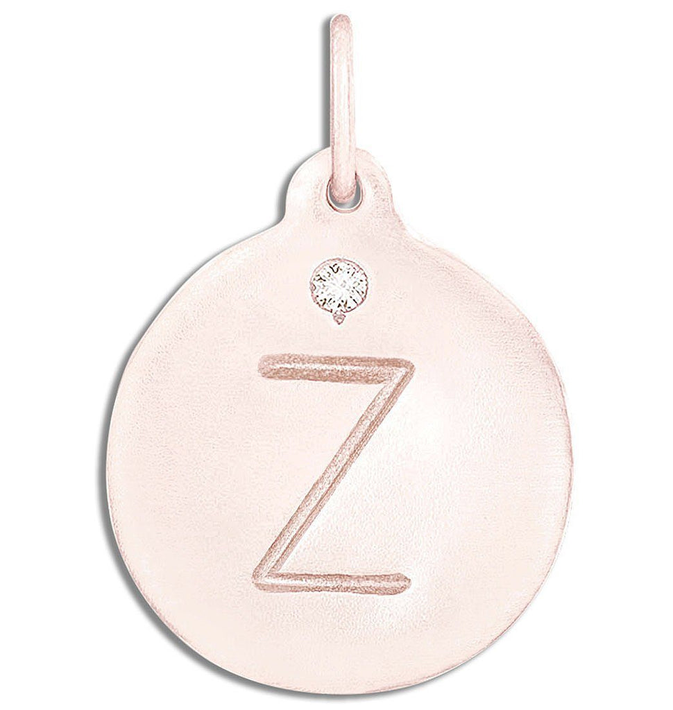 """Z"" Alphabet Charm With Diamond - 14k Pink Gold - Jewelry - Helen Ficalora - 3"