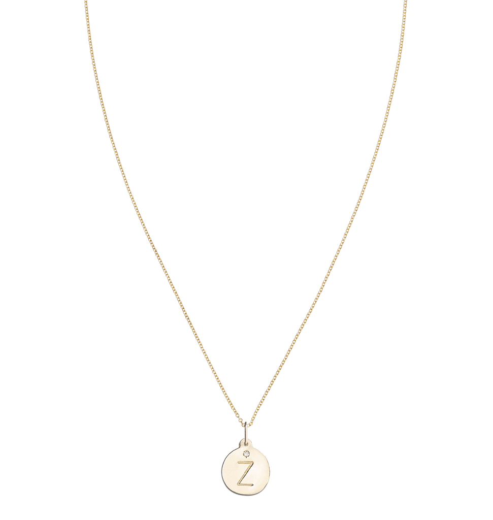 """Z"" Alphabet Charm With Diamond -  - Jewelry - Helen Ficalora - 5"