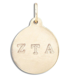 """Zeta Tau Alpha"" Disk Charm Jewelry Helen Ficalora 14k Yellow Gold For Necklaces And Bracelets"