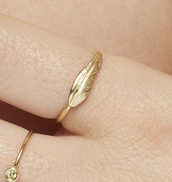 Large Feather Stacking Ring Jewelry Helen Ficalora 14k Yellow Gold