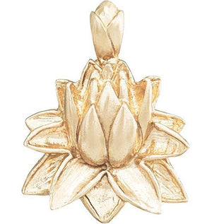 Large Lotus Flower Charm Jewelry Helen Ficalora 14k Yellow Gold
