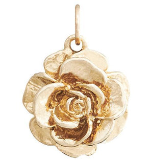 Large Tea Rose Flower Charm Jewelry Helen Ficalora 14k Yellow Gold