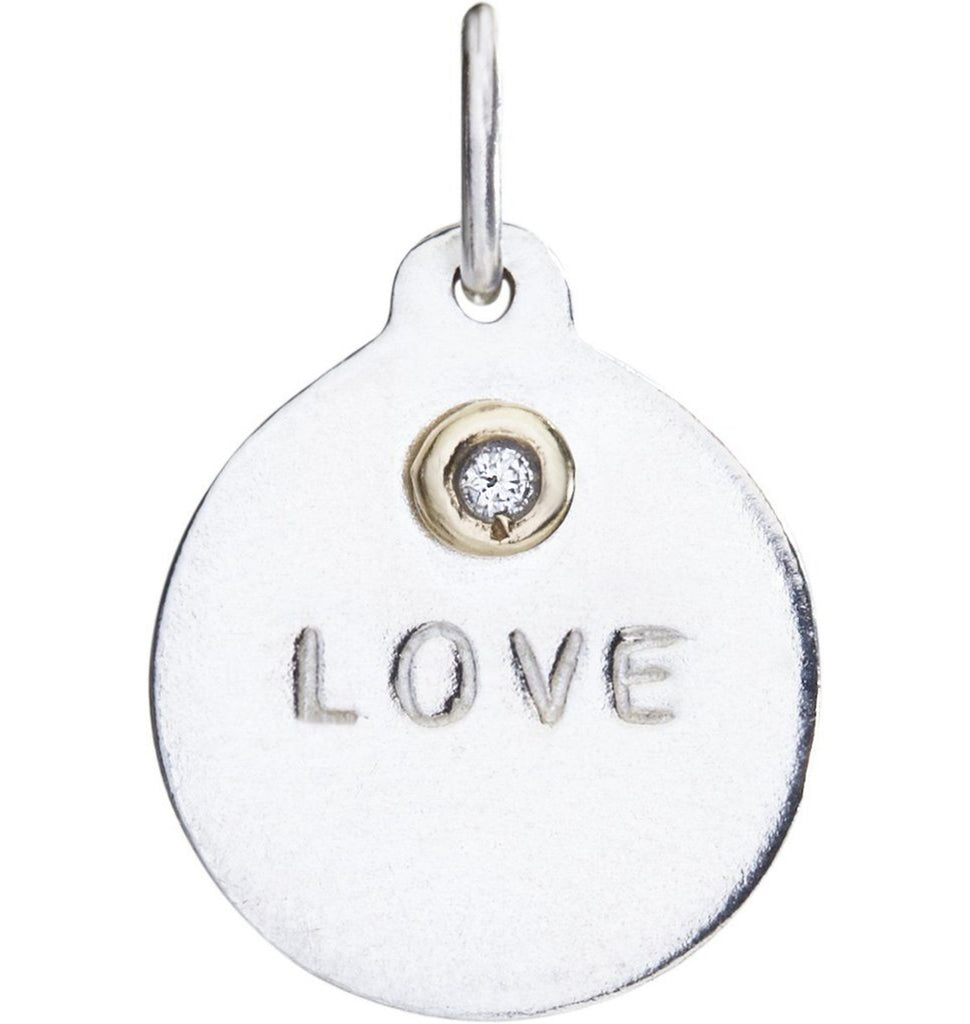 """Love"" Disk Charm With Diamond"
