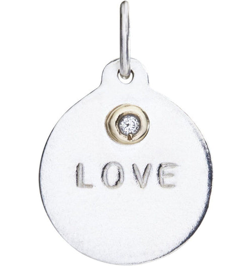 """Love"" Disk Charm With Diamond Jewelry Helen Ficalora For Necklaces And Bracelets"