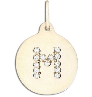 """M"" Alphabet Charm Pavé Diamonds Jewelry Helen Ficalora 14k Yellow Gold For Necklaces And Bracelets"