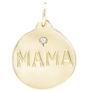 """Mama"" Disk Charm With Diamond Jewelry Helen Ficalora For Necklaces And Bracelets"