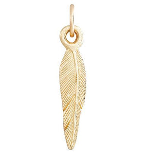 Medium Feather Mini Charm Jewelry Helen Ficalora 14k Yellow Gold