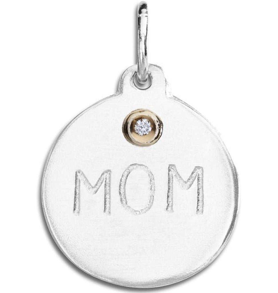 """Mom"" Disk Charm With Diamond Jewelry Helen Ficalora For Necklaces And Bracelets"