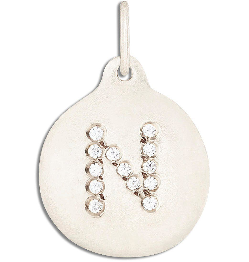 """N"" Alphabet Charm Pavé Diamonds Jewelry Helen Ficalora 14k White Gold For Necklaces And Bracelets"
