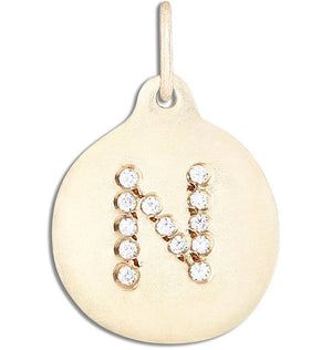 """N"" Alphabet Charm Pavé Diamonds Jewelry Helen Ficalora 14k Yellow Gold For Necklaces And Bracelets"