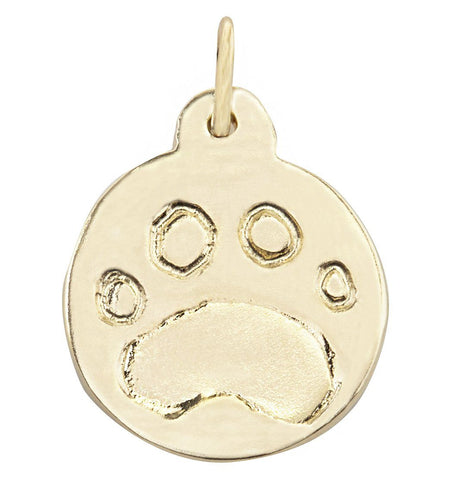 Paw Print Disk Charm Jewelry Helen Ficalora 14k Yellow Gold