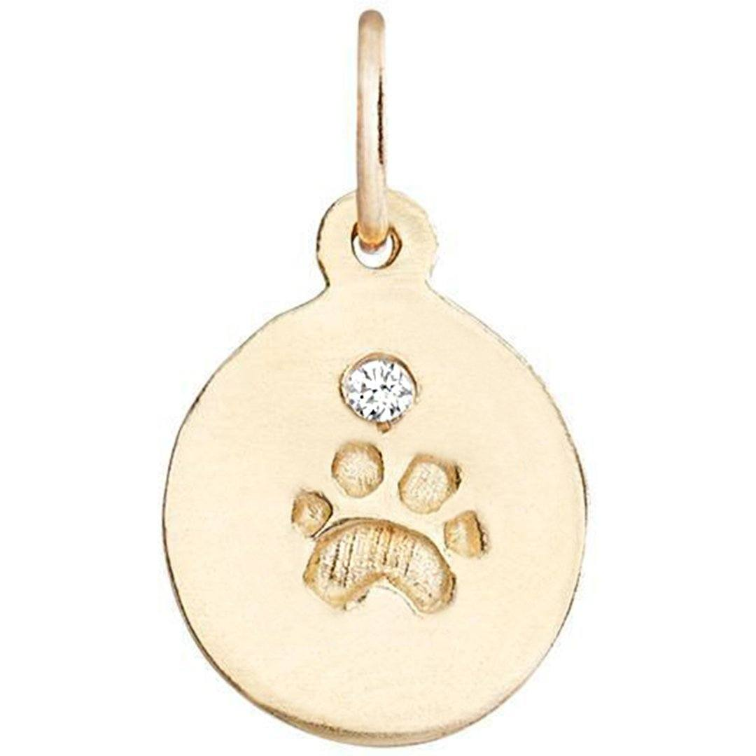Small Paw Print Disk Charm With Diamond Jewelry Helen Ficalora For Necklaces And Bracelets