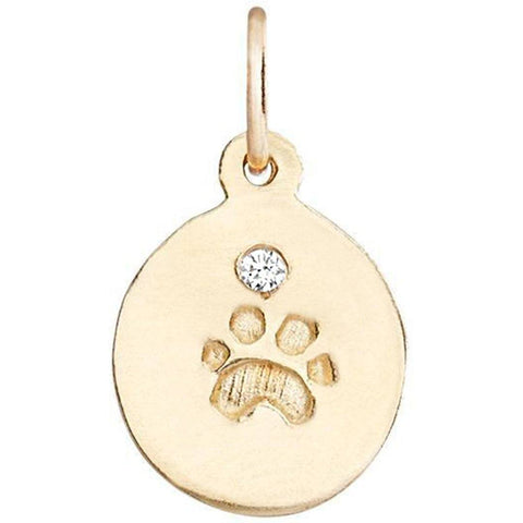 Small Paw Print Disk Charm With Diamond Jewelry Helen Ficalora