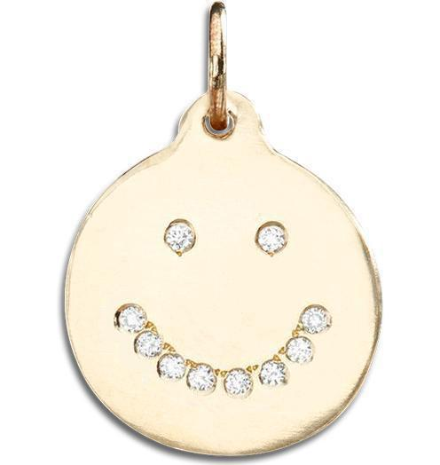 Smiley Disk Charm Pavé Diamonds