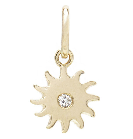 Sun Mini Charm With Diamond Jewelry Helen Ficalora 14k Yellow Gold For Necklaces And Bracelets