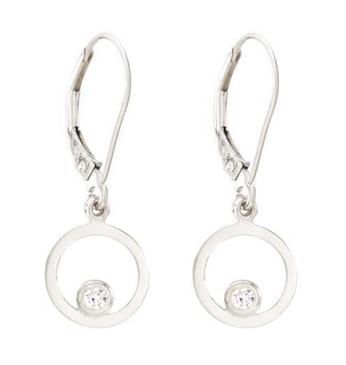 Open Circle Dangle Earrings With Diamond Jewelry Helen Ficalora 14k White Gold