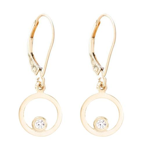 Open Circle Dangle Earrings With Diamond Jewelry Helen Ficalora 14k Yellow Gold
