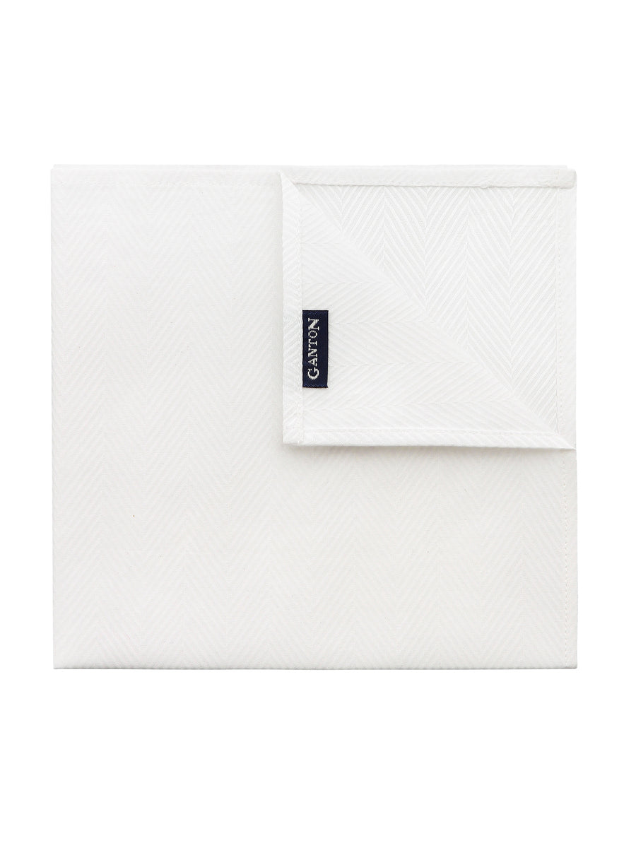 White Herringbone Pocket Square