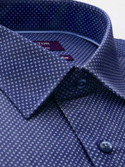 The Byron print navy Ganton shirt with a spread collar and plain front