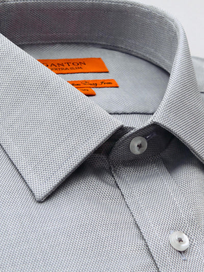 The Aaron textured Ganton shirt with a spread collar and placket.