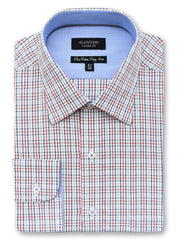Brent red check shirt in a Ganton classic fit with spread collar and button cuff
