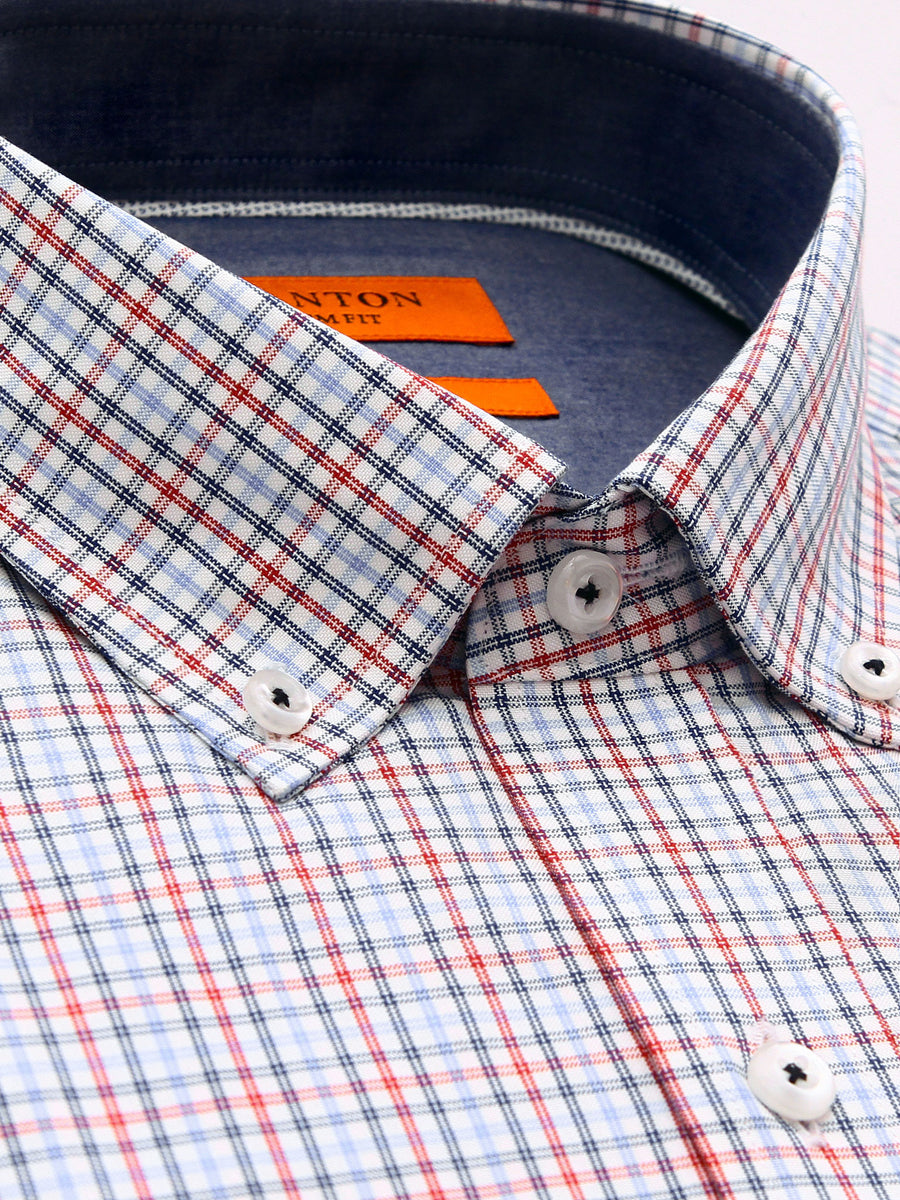 Bryce red check shirt in a Ganton slim fit with button down collar and button cuff