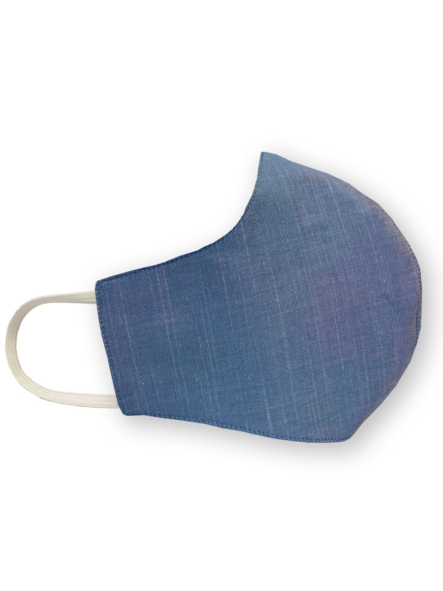 Blue Mini Check Reversible Four Layer Washable Face Mask