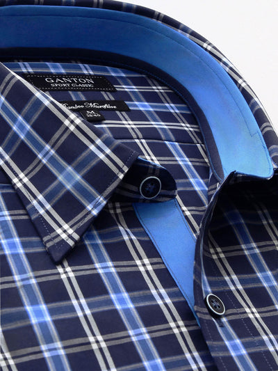 Blue check Classic Fit shirt from Ganton. Blue contrast on inside collar