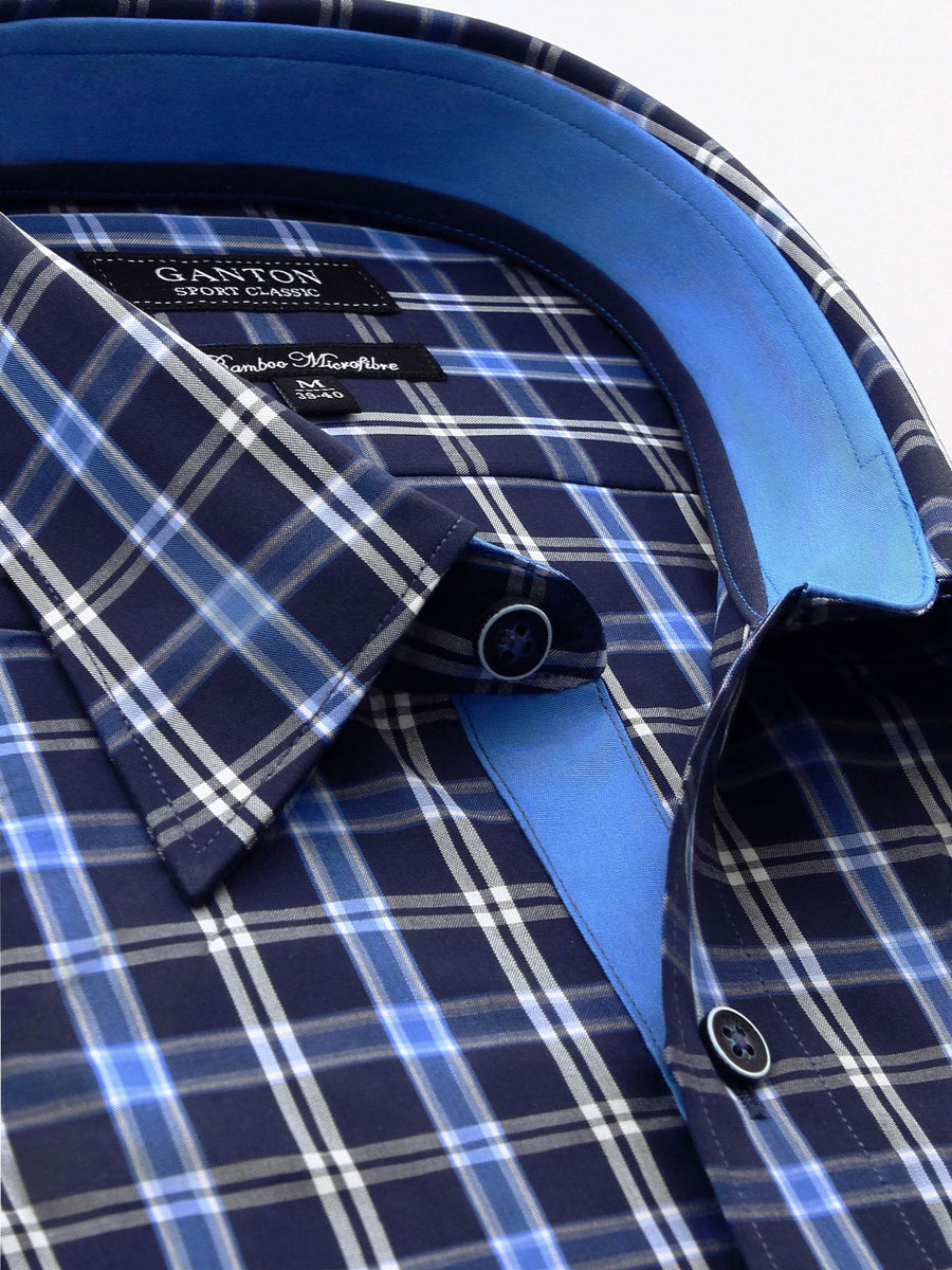 Ganton Sport Classic Shirt | Navy and Blue check shirt with navy and white buttons