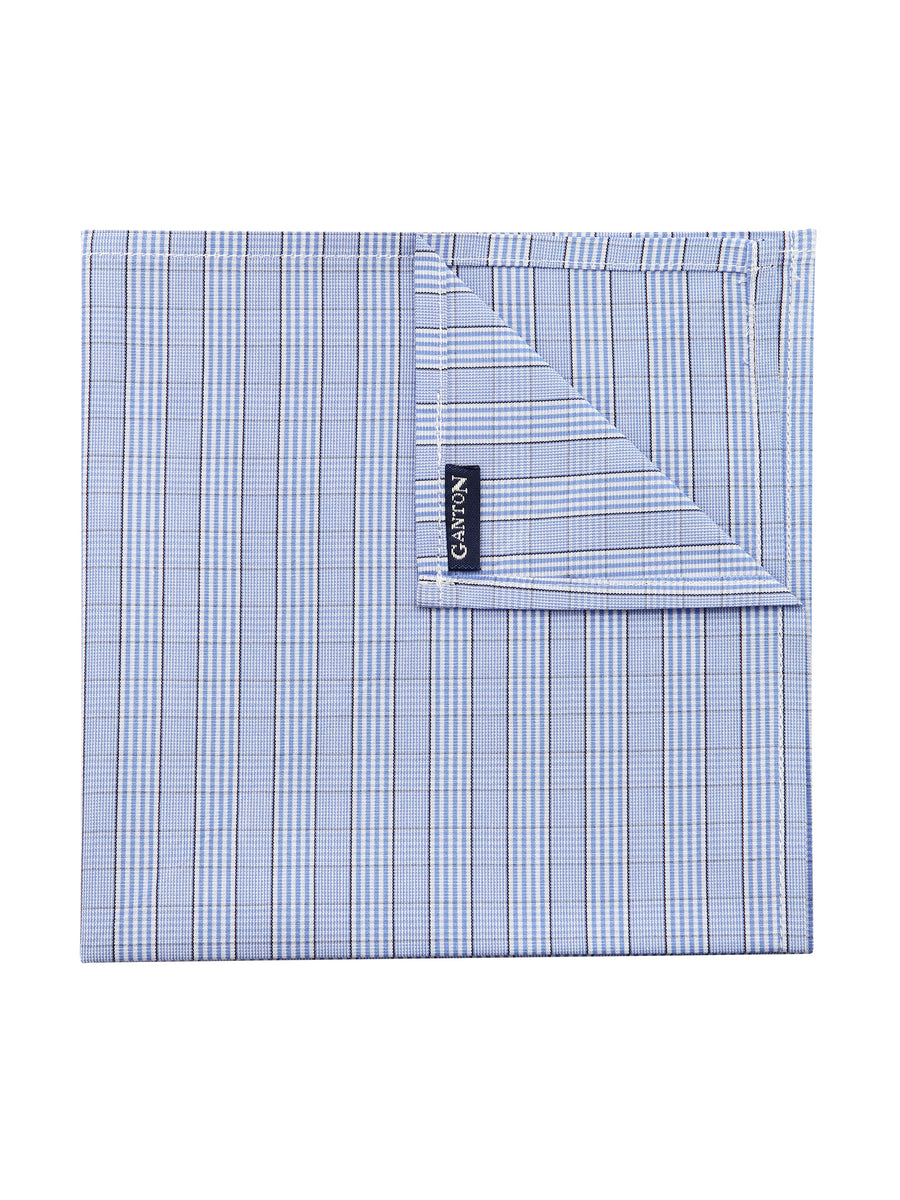 Blue Check Poplin Pocket Square