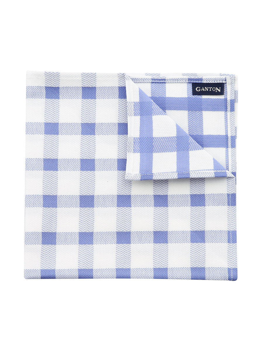 Blue Textured Check Pocket Square