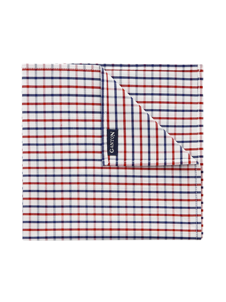 Red & Navy Check Pocket Square